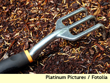 mulch with hand tool