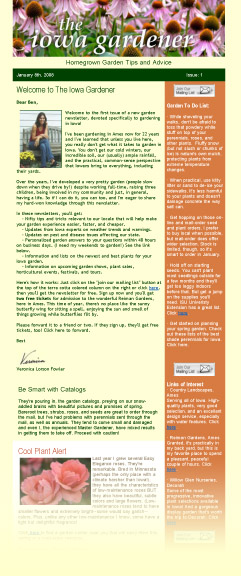 Sample of newsletter